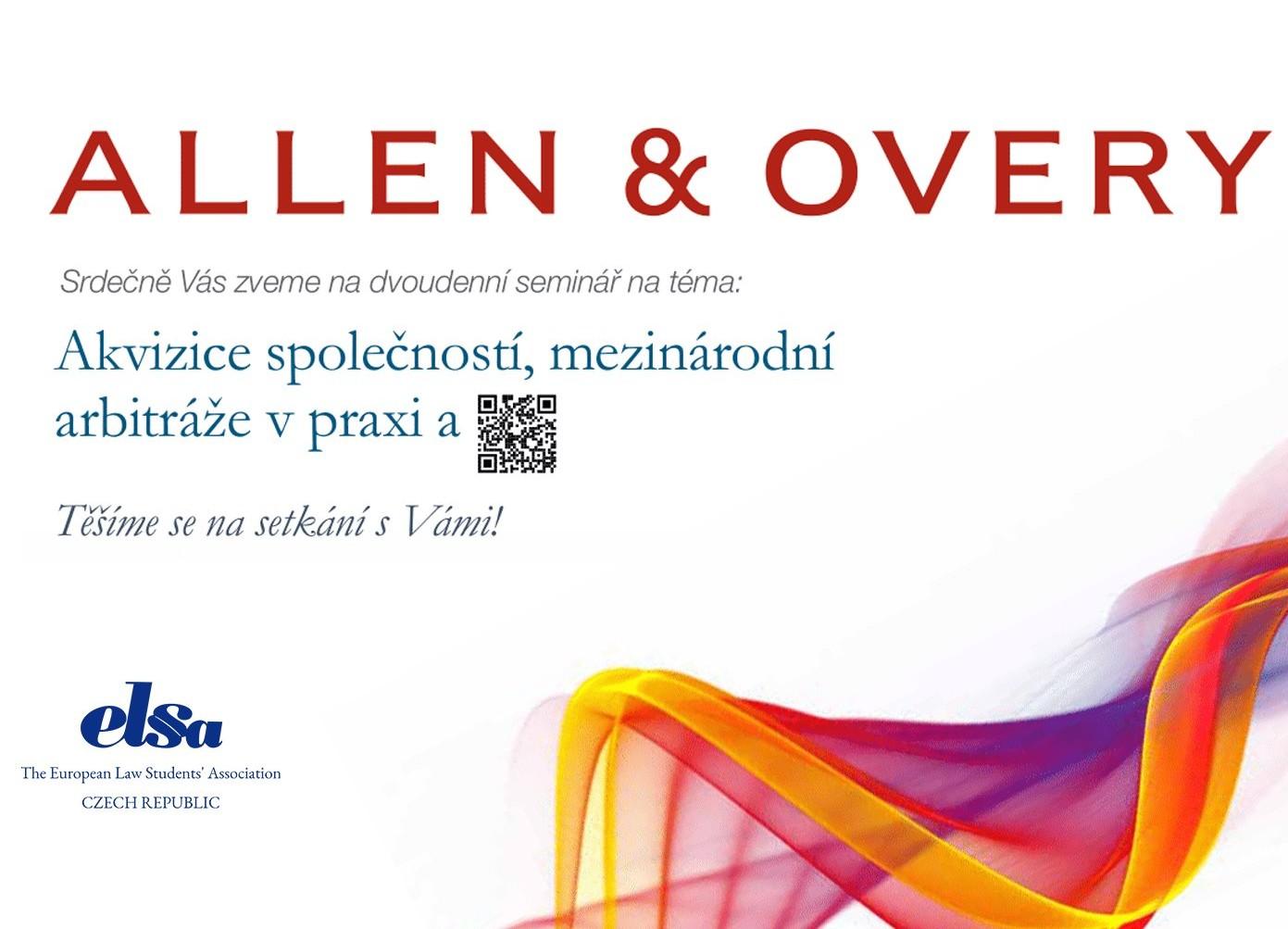 Allen & Overy Legal Workshop – Akvizice společností, mezinárodní arbitráže v praxi
